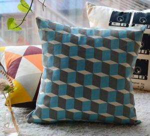 China Cube grid cotton linen cushion,3D printed cushion cover,graphic vector drawing cushion on sale
