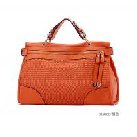 promotional lady fashion accessories PU leather weave tote bag
