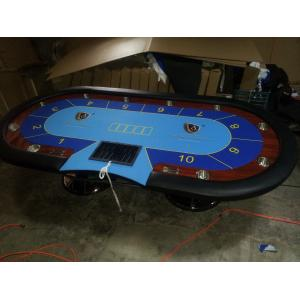China Blue Wooden Oval Baccarat Texas Holdem Poker Table Steel Legs Poker Gaming Table on sale