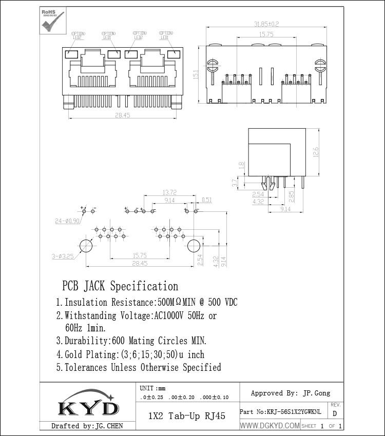krj 56s1x2ygwknl tab up ganged two port gigabit ethernet rj45 lan RJ 45 B dual port rj45