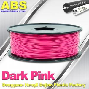 China Colored ABS 3d Printer Filament 1.75mm /  3.0mm , Dark Pink  ABS Filament on sale