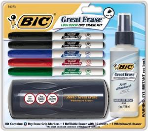 China BIC Dry Erase Marker Kit 5 markers, whiteboard cleaner and whiteboard Eraser Assorted BIC on sale