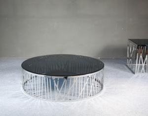 Quality Shinny Stainless Steel Coffee Table , Round Glass Metal End Table,  smoking glass table for sale
