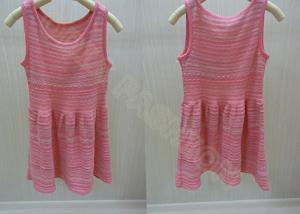 China Sleeveless Scoop Neck Girls Summer Dress / Strips Kids Holiday Sweater in Red on sale