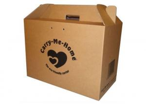 China Bulk Cardboard Kraft Corrugated Boxes With Brown Handle Customized Size on sale