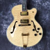 High quality, color jazz L5 electric guitar, wood, gold rocker, fingerboard flower mosaic. Real photos, wholesale and re