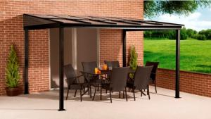 China 10' x 12' ft Sun Shelter Wall Mounted PC Roof Alu With Mosquito Net Nylon Aluminium Patio Cover on sale