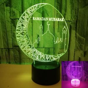 China New moon Creative 3D Visual Stereo Light LED Decorative Muslim Acrylic Table Lamp custom words on sale