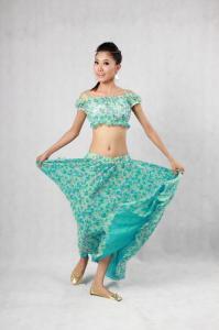 China Elegant Belly Dancer Costume Blue Green Floor Length Maxi Skirt Plain Neckline Bras on sale