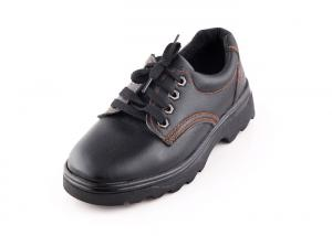 China Microfiber Upper Black Steel Toe Work Shoes For Men , Round Toe Non Slip Safety Shoes on sale