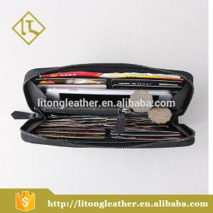 China Highclass Vegetable Tanned Leather black handle Cluth Bag Zipper Wallet on sale