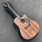 Factory Cutaway 41 inch Koa wood acoustic guitar,Ebony fingerboard Abalone inlays D style koa guitar,Free shipping