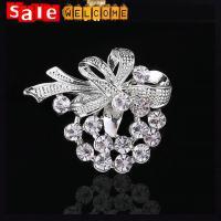 Flower Silver Rhinestone Brooch,Crystal Broach Pin Badge Gift ,Cheap Wedding Brooches