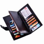 China Oil Wax Leather Black Clutch Bag With Multi Card Position , Thin Long Trifold Womens Wallet wholesale