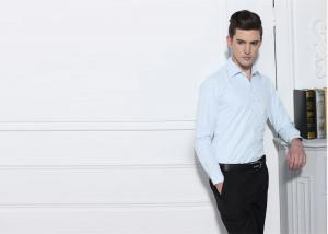 China Light Blue Mens Cotton Shirts , Plain 100 Percent Cotton Shirts Square Cuff on sale