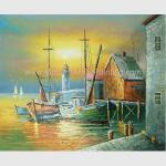 Sailling Boats Oil Painting Harbor , Modern Sunset Landscape Painting