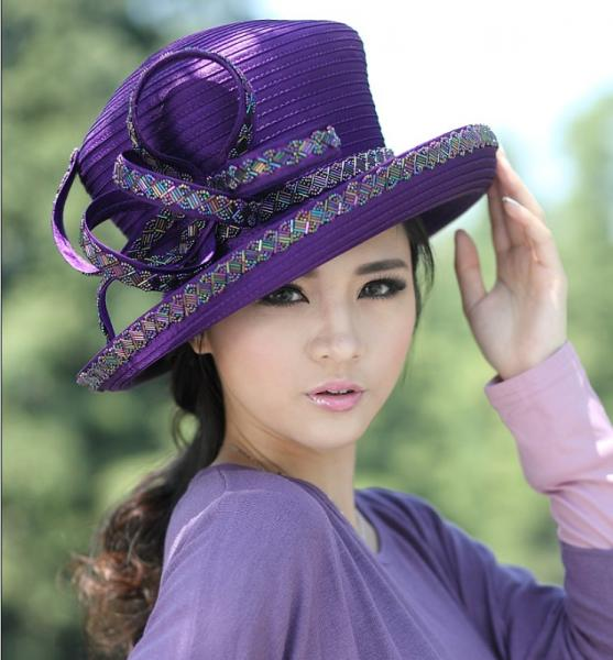 39eca68ced1 Purple Womens Satin Church Hats with Feathers and Diamond Casing for ...