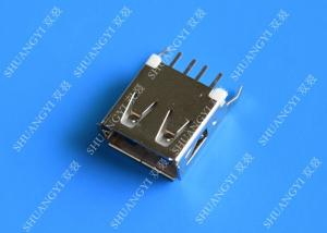 China Straight Solder Type USB A Female Plug Connector Jack Silver Tone on sale