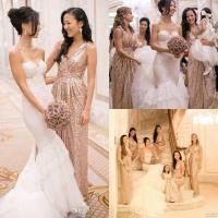 Sexy A Line Bridesmaid Wedding Dresses / V Neck Shiny Sequins Evening Dresses
