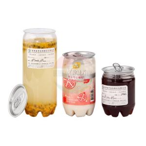 China 350ml Clear Plastic Cylinder / Beverage Juice Pet Bottle Jar  With Aluminum Easy Open Lid on sale