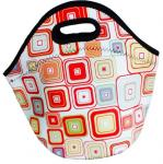 Zippered insulated portable neoprene lunch tote bag with durable hard liner