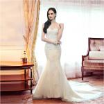 Girls sexy Mermaid Backless Sweetheart Lace Wedding Dress with chapel train