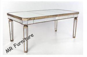 China 86 Inches Mirrored Rectangular Glass Dining Table For Restaurant / Home on sale