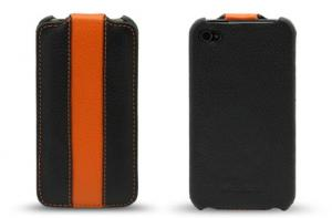China PU leather case for Iphone 4 and 4s, half-shell style on sale