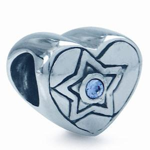 China Heart Shaped Bead Charm 925 Sterling Silver With Star Bead For Necklace on sale