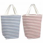 Resuable Blue Red Stripes 100% Cotton Shopping Bags With Logo PVC Liner