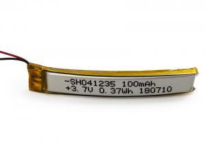 China Custom Curved Lipo Battery 041235 100mAh 3.7V SUNHE With Max Charge 200mA on sale
