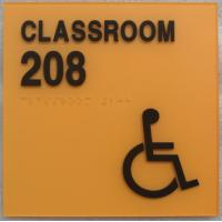 ADA Standards Orange Classroom Disabled Sign Clear Grade II Accent Braille Square Corner