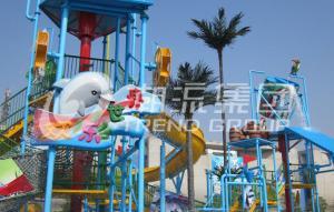 China Interactive Aqua Park Games Water House For Fun Theme Park / Fiberglass Slides on sale