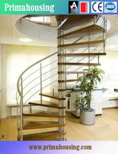 China Wood Tread Steel Railing Loft Spiral Staircase For Small Places Space Saving on sale