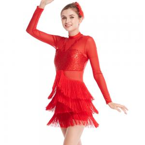 China Long Sleeves Stunning Tap Costume Rows Fringes Mock Neck Dance Dress Performance Wear on sale