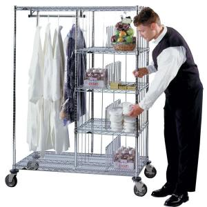 China Laundry Hotel Cart Commercial Wire Shelving 24 x 48 x 60 , Steel Shelving With Wheels on sale