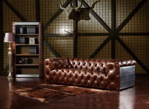 China Luguxry Vintage Brown Genuine Leather Couches Sofa Set With Aluminium Sheet on sale