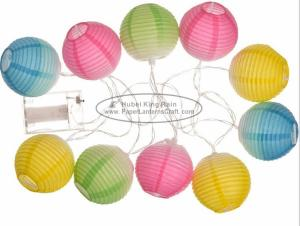 China Gradient Color printed Battery Operated Paper Lantern String Lights 7.5 Cm Energy Saving Led Party Decor on sale