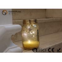 Gold Color Jam Jar Garden Lights , Glass Jar Fairy Lights For Home Decoration