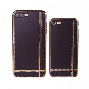 China Soft TPU Electroplating Classic Striae Gold Frame Back Cover Cell Phone Case For iPhone 7 7 Plus on sale