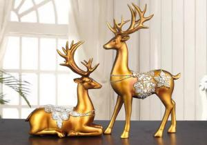 China Christmas Reindeer Resin Arts Crafts Home Hotel Decoration on sale