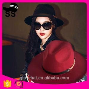 China 2017 NEW style YIWU fedora boater 57cm 100% Wool felt cowboy cowgirl womens party summer straw hats on sale