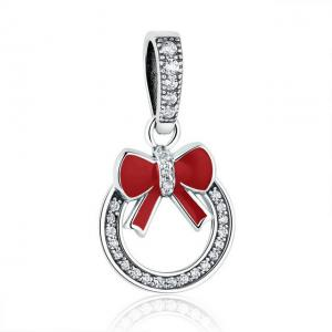 China Wreath with Red Bow Dangle 925 Sterling Silver Pendants Fit European Charms Bracelets on sale
