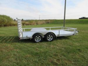 China Heavy Duty 7x4 Aluminum Trailer With 27x2mm Pipe Round / 500mm High Side on sale