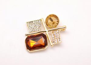 China Custom Amber Costume Rhinestone Flower Brooches and Pins on sale