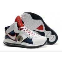 Cheap Mens Nike Air Max Lebron VIII White Blue Red---salenikeoutlet