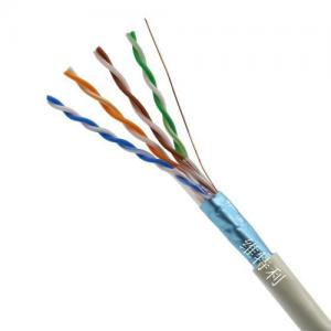 China 24AWG Cat5e Lan Cable / Cat5e FTP Cable Wire 1000 Meters Data Cable Standard Engineering on sale