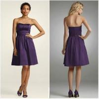 Purple Strapless Ruffled Short Bridesmaid Dress