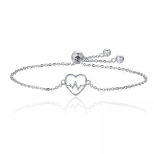 China 925 Chain Link Sterling Silver Bracelets , Ladies Sterling Silver Heart Bracelet on sale