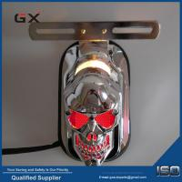 China Motorcycle LED Tail Light Skull Head Taillight Red Light Color Black and Chrome Cover for Option on sale